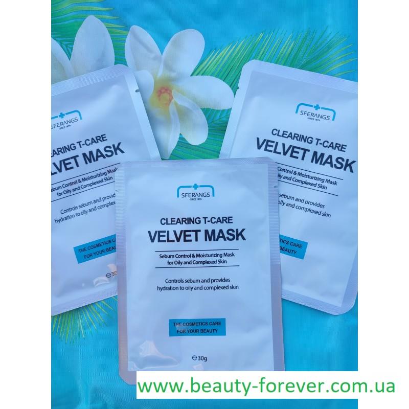 Регулирующая и очищающая тканевая маска Clearing Т-care Velvet 30g