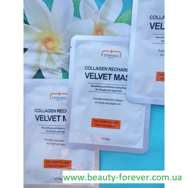 Тканевая маска для восстановления синтеза коллагена Collagen Recharging Velvet 30g